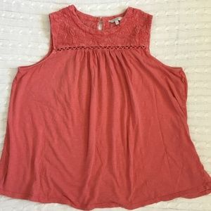 Lucky Brand Embroidered Sleeveless Top Size 2X